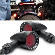 Motorcycle LED Black Bullet Brake Running Turn Signal Tail Light For Bobber Cafe