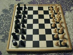 3In1 Folding Wooden Chess Set Board Game plus Checkers and Backgammon