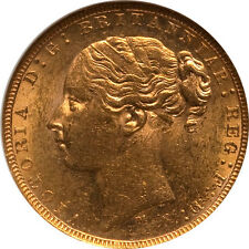 Australia 1879-M Victoria Gold Sovereign NGC MS-61 Scarce in Mint State!!