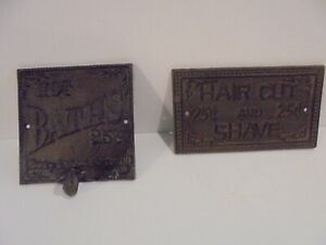LOT (2) RUSTIC METAL BATH HOOK (HOT BATHS) & HAIR CUT AND SHAVE PLAQUE EXCELLENT