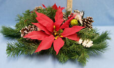 Christmas Centerpiece with Holly Pine Cones Poinsetta Flowers 2 Candle Holders