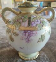 Antique Nippon Hand Painted 2-Handle Floral Gold/Floral Moriage Water Jug/Vase
