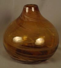 "Orb-Shaped Amber Vase - 6 1/2"" Tall"
