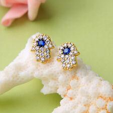 925 Sterling Silver White Sapphire Blue CZ Pave Fatima Hand Women Stud Earrings
