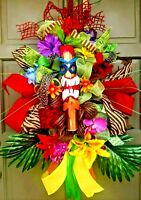 "30"" Summer Tiki Wreath Tropical Flower Pool Luau All Occasion Door Decoration"