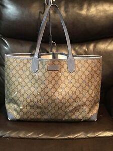 Authentic Gucci canvas leather signature GG logo tote handbag purse 309498