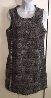 Banana Republic Black Tweed Fringe Sleeveless Lined Dress Sz 6 EUC