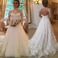f0eff518fc Women White Wedding Dresses Full Lace Long Sleeve Dress Backless Bridal  Gowns US