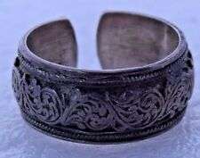 Textured Paisley Intricate Adjustable Toe Finger Sterling Silver Ring Size 6.5