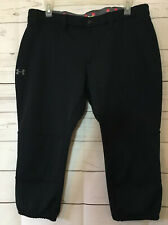 Under Armour ~ Black Capri baseball Pants Cropped Stretch ~Women's Size Large