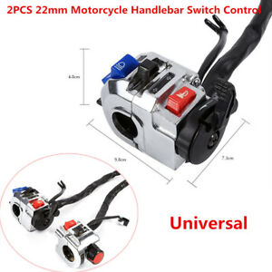 """A Pair 22mm 7/8"""" Motorcycle Handlebar Switch Control Horn Indicator Start Button"""