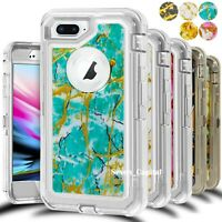 For iPhone 6 7 8 Plus Marbel Shockproof Defender Case Cover Fits Otterbox Belt