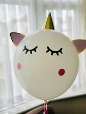 "Unique Brand New DIY 24"" Huge White Giant Unicorn Party Balloon With Eyelashes"