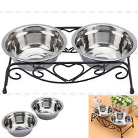 Double Bowl Dog Cat Feeder Elevated Stand Raised Dish Feeding Food Water Pet US