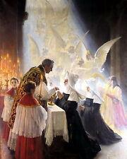 Religious Art Print Catholic HOLY COMMUNION Mass Priest Nun Rosary Angels