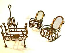 Vintage Doll House Furniture Two Metal Rocking Chairs Baby Bed Cradle