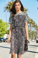 NEXT Ditsy Print Tea Dress Size 12 | Black & Pink | BNWT | Brand New | Summer