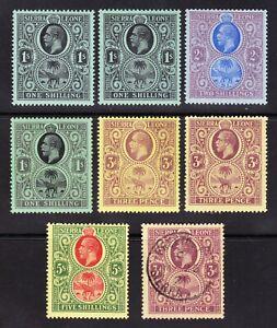 Sierra Leone 1912-27 3d TO 5/- RANGE OF SHADES MH/LH OG 1 FU BETWEEN SG116b-145