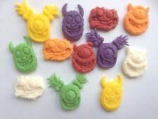 Edible sugarpaste monsters - cake topper multi colours x 12