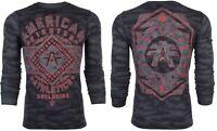 AMERICAN FIGHTER Mens LONG SLEEVE T-Shirt SANTA CLARA Reflective BLACK CAMO $54