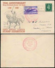 GB STAMP EXHIBITION 1939 1/2d ILLUSTRATED ENVELOPE..AIRCRAFT LABEL TIED + CANCEL