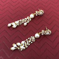 Gold Plated Fashion Indian Ethnic Multiple Pearl Chain Strand Dangle Earrings