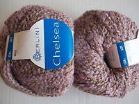 Berlini Chelsea wool blend boucle yarn, light mauve, lot of 2 (109 yds each)
