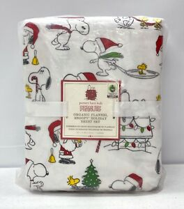NEW Pottery Barn KIDS Flannel Peanuts Snoopy Christmas Holiday FULL Sheet Set