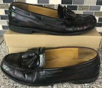 COLE HAAN Men's Burgundy Leather Pinch Tassel Loafers Dress Shoes Size 9.5 D