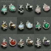 Natural Gemstone Dragon Ball Round Reiki Chakra Healing Pendant Necklaces Beads