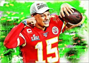 2021 Patrick Mahomes Kansas City Chiefs 2/25 Art ACEO Sketch Print Card By:Q