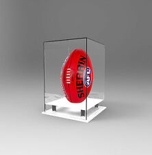 Football / AFL Display Case Deluxe Acrylic Perspex - Upright /Vertical - WHITE