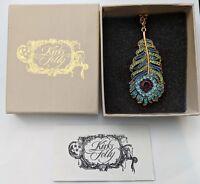 Kirks Folly Josephine Wall Spirit Of Flight Peacock Feather Necklace, GT ~ NIB