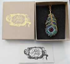 Kirks Folly Josephine Wall Spirit Of Flight Peacock Feather Necklace, GT ~ NIB