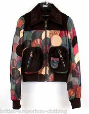 DOLCE & GABBANA D&G Multicoloured Disc Patchwork Leather Jacket Ita40 BNWT
