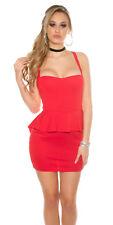 RED SEXY DRESS BACKLESS MESH KEYHOLE PEPLUM TAIL STRAPPY SIZE 12 MEDIUM