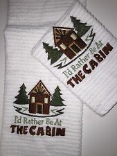 Embroidered Hand Towel and Wash Cloth Set-I'D RATHER BE AT THE CABIN H783