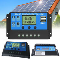 30A Solar Panel Controller Battery Charge Regulator 12V/24V Auto With Dual USB