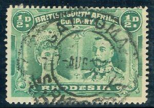 1910 Rhodesia Double Head 1/2d Perf 14 Fine GATOOMA CDS Right Corner Re-Cut VFU