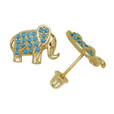 Blue Topaz Elephant Child Stud Earrings Screw Back 14K Yellow Gold