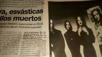 Marilyn Manson. Artículo. Concierto Sala Bikini. Barcelona 1996!!