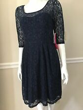 NWT BETSEY JOHNSON WOMEN Sz8 LACE ILLUSION YOKE 3/4 SLEEVE DRESS BLUE NAVY