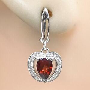 World Class 2.20ctw Garnet & Diamond Cut White Sapphire 925 Silver Earrings 4.6g