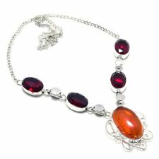 "Baltic Amber, Garnet Gemstone Handmade 925 Sterling Silver Jewelry Necklace 18"""