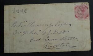 RARE 1876 Jamaica Cover ties 2d carmine QV stamp to Kingston