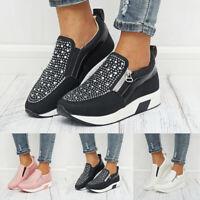 Womens Ladies Casual Running Sneakers Zip Wedge Hidden Heel Sport Shoes Trainers
