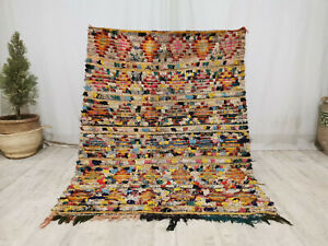 Vintage Moroccan Boucharouite Handmade Rug 4'x5'5 Tribal Colorful Berber Carpet