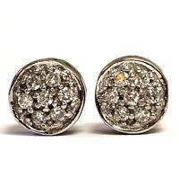 14k white gold .21ct SI2 I1 G diamond round cluster stud earrings 2.5g estate