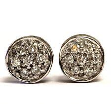 14k white gold .21ct SI2 I1 G diamond button cluster stud earrings 2.4g estate