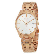 Calvin Klein Time Silver Dial Rose Gold-tone Ladies Watch K4N21646